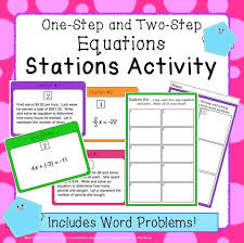 equations stations activity one and two step includes word problems