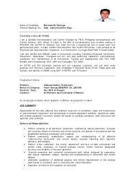 Offshore Instrument Technician Resume Sample Professional User