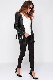 wild thing black vegan leather fringe jacket