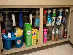 Under Kitchen Sink Storage Tension Rod For Hanging Spray Cleaners Under Kitchen Sink Great
