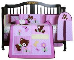 girl teddy bear 13pcs crib bedding set
