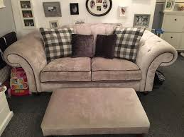Button Couch Chesterfield Button Back Sofa 3 Piece Suite Grey Silver Crushed