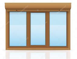 Braunes Kunststoff Fenster Mit Rollenden Fensterläden Vektor
