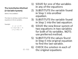 the substitution method 3 variable system 1 solve for one of the