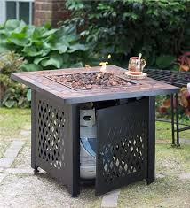main image for propane gas fire pit with tile mantel