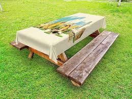 Ambesonne landscape outdoor tablecloth doha historical arabian qatar avant garde watercolor panorama with brush strokes decorative washable picnic table