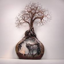 wire tree of life grove spirits sculpture quartz crystal and the wolf wall hanging  on wire tree sculpture wall art with wire tree of life grove spirits sculpture quartz crystal and the