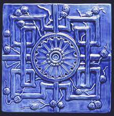 6X6 Decorative Ceramic Tile 600x600 Relief carved Oriental Art Deco reproduction decorative 11