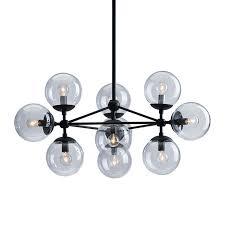 zuo modern belfast 29 9 in 10 light matte black clear glass globe chandelier