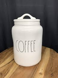 Rae dunn but first coffee mug organizer. Amazon Com Rae Dunn Coffee Canister By Magenta Kitchen Dining