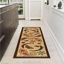 ottomanson sara s kitchen paisley design mat runner rug with non skid non slip rubber backing beige 20 x 59