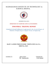 Training Report Cover Page Industrial Training Report On Java
