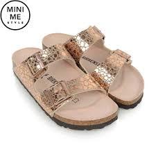 Designer Birkenstock Sandals Birkenstock Girls Copper Metallic Stones Arizona Sandals