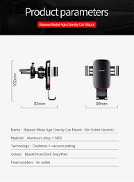 <b>Baseus Gravity Car Phone</b> Holder Air Vent Universal for iPhone ...
