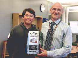 sam hoffman left with craig smith new hope solebury middle school librarian and robotics club advisor