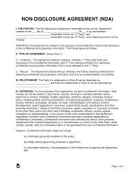 Nda Document Template Non Disclosure Nda Agreement Templates Eforms Free Fillable Forms