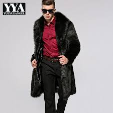 winter mens luxury faux fur long coat office work party hoody parka warm punk overcoats business man casual loose fit fur coats c18112201 jackets on