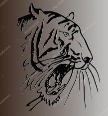 Sketch Of A Tattoo Tiger Head With Open Mouth Against Gray