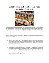 Catering Agreement Exactly What To Look For In A Food Catering Contract Pages 1