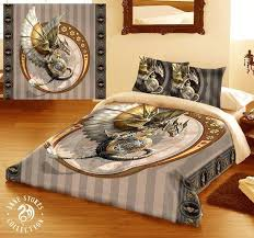gothic bedding sets steampunk dragon double bed duvet and pillowcase bed linen set artwork by stokes gothic bedding sets