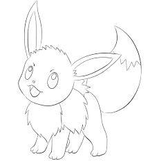 Tô màu Pokemon Eevee Đang Cười - Trang Tô Màu Cho Bé