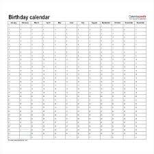 Family Birthday Calendar Template Free List Office Templates – Appswop
