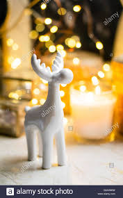 Little White Christmas Lights Little White Ceramic Christmas Deer Figurine With Yellow