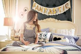 wonderful white wooden bed by Pottery Barn Teens with charming bedding for teen  bedroom decor ideas