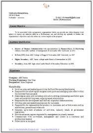 Resume Format For Mba Marketing Freshers - Starengineering