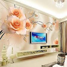 custom photo wallpaper modern purple rose flowers 3d stereoscopic living room tv sofa background wall home decor murals