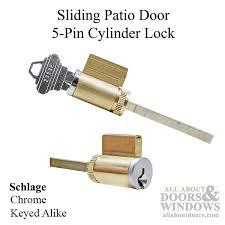 cylinder lock sliding patio door 5 pin tumbler keyed alike