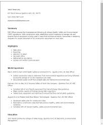 Environmental Officer Sample Resume Magnificent 44 Hse Officer Resume Templates Try Them Now MyPerfectResume