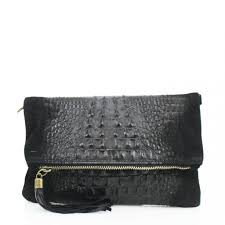 Designer Black Suede Clutch Bag Designer Italian Soft Suede Leather Folded Croc Print Clutch