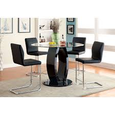 furniture of america damore contemporary 5 piece counter height high gloss round dining table set black hayneedle