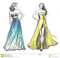 Fashion Illustration Long Dress Catwalk Stock Vector Image