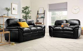 rochester black leather 3 2 seater sofa