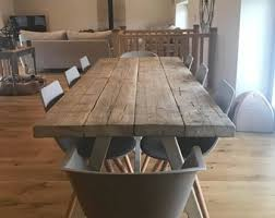 reclaimed industrial chic a frame 6 8 seater dining table grey bar cafe restaurant furniture steel solid wood metal made to mere 574