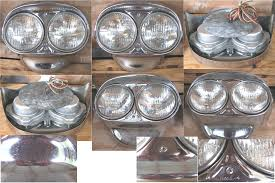 fomoco headlight assemblies pits from sitting in a garage all these years but these are new headlights includes bulbs and wiring complete ready to put on to customize your 57