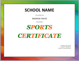 School Certificates Template School Sports Certificate Template Word Templates For Free
