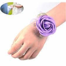 Heb Corsages 5 Colors Wrist Flower Rose Silk Ribbon Bride Corsage Hand