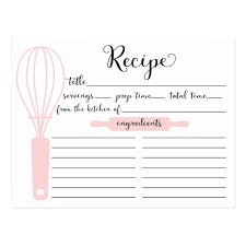 card recipe modern hand lettered pink whisk recipe card