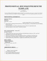 Resume Sample For Housekeeping Job In Hospital New Supervisor Skills