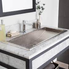 36 trough drop in copper bathroom sink