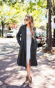 christine andrew rocks the plaid trend in a long trench coat and fringed leather ankle boots coat dress ily couture just the design