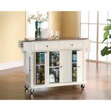 Charming Crosley White Kitchen Cart With Stainless Steel Top