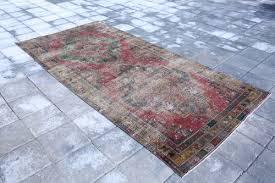 4 4x9 3 feet oushak rug turkish rug red blue rug
