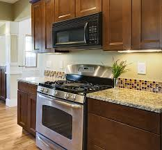 Kitchen With Glass Tile Backsplash Mesmerizing Brown Glass Tile Kitchen Backsplash Wonderful Interior Design For