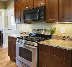 brown glass backsplash tile