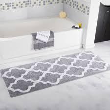 gray and white striped bath rug