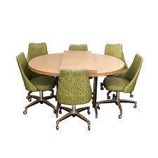 dining room chairs casters furniture oval table